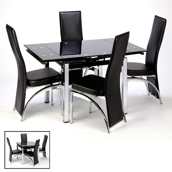 Paris Extending Black Dining Table And Chairs Extendable