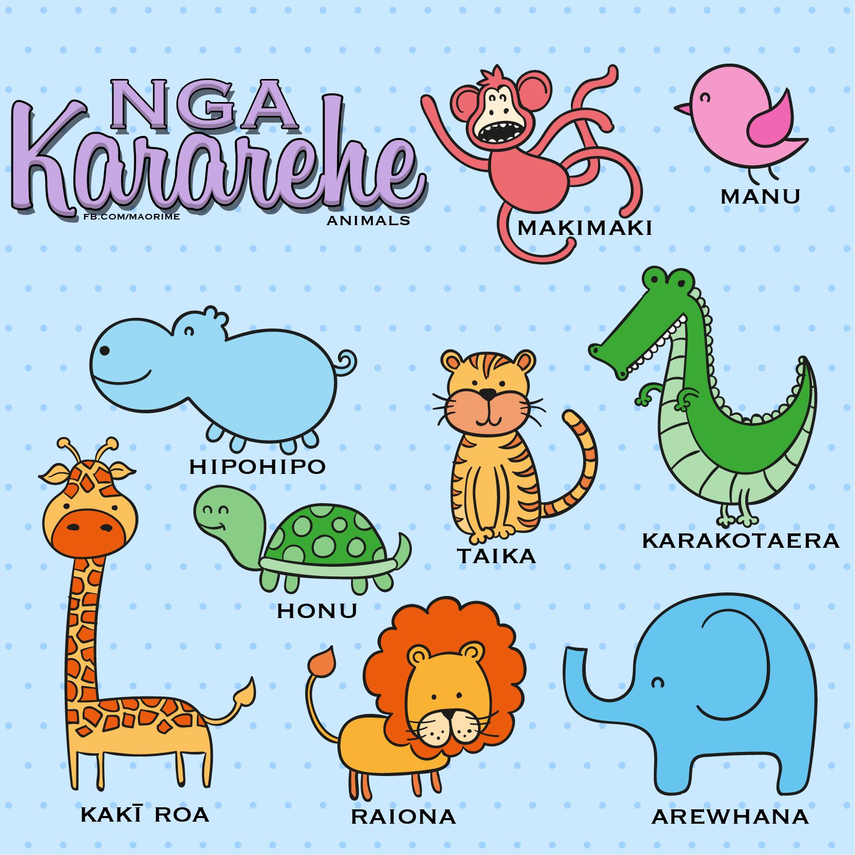 Animal Names In Maori Maori Songs Maori Cute Animals