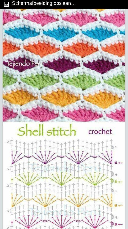 Shell sticht   Knitting, sewing, makrame   Pinterest