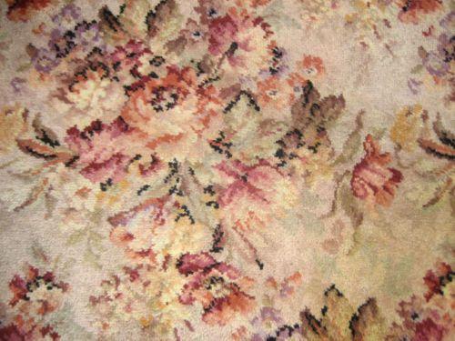 Details About Vintage Chic Shabby Barkcloth Era Roses Bouquets Romantic Area  Rug Carpet 8X10