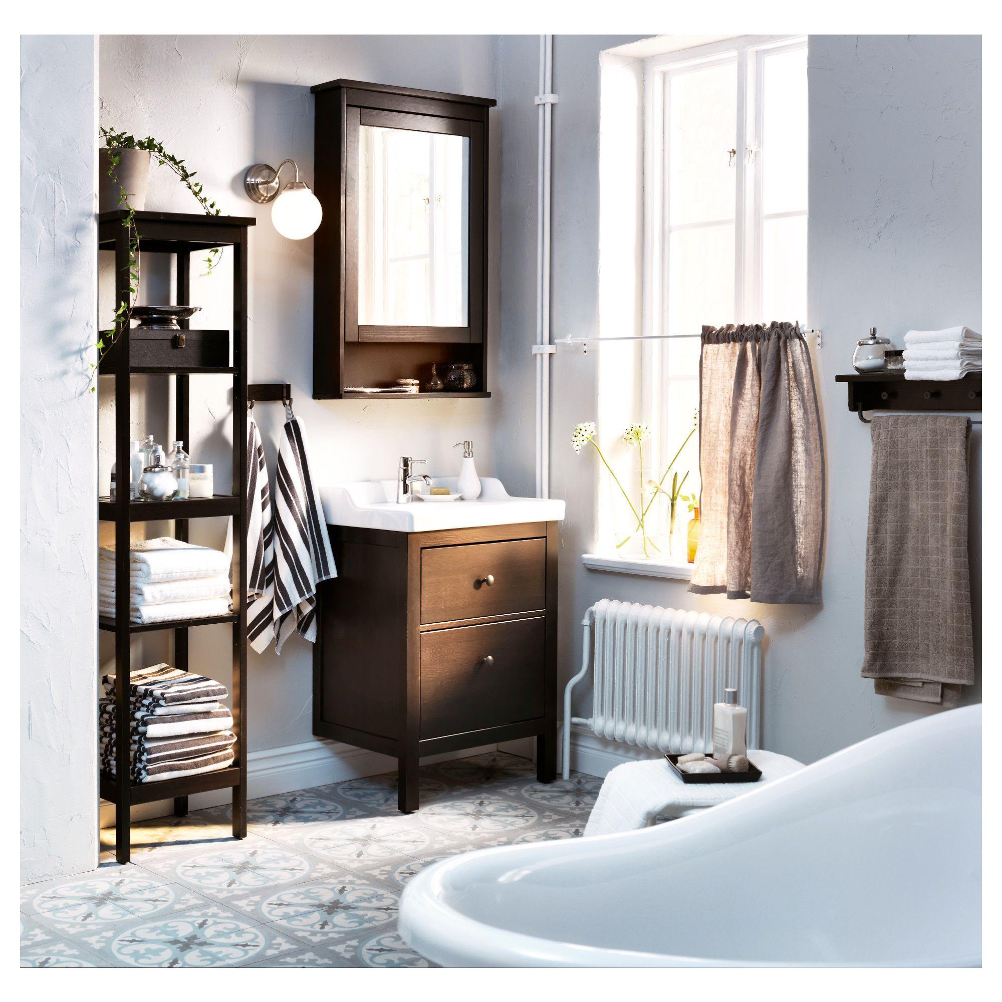 Ikea Hemnes Mirror Cabinet With 1 Door Black Brown Stain