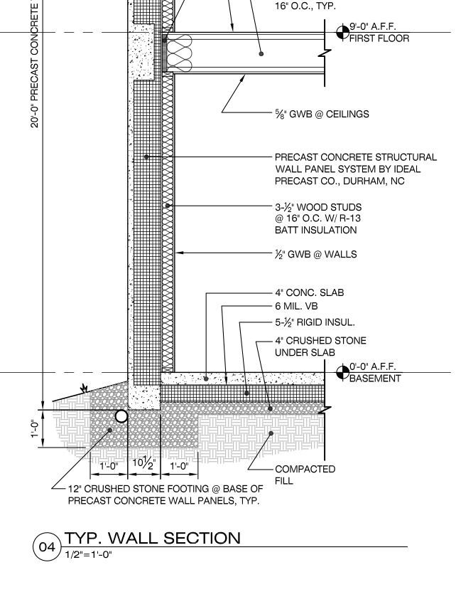 Concrete wall section detail construction information for Glass block r value