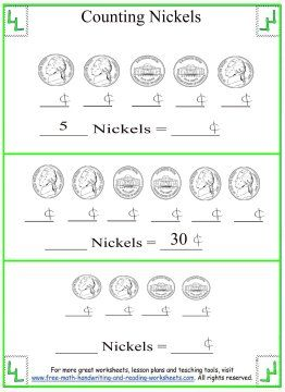 Counting Nickels & Pennies Worksheets (free; from Free Math ...