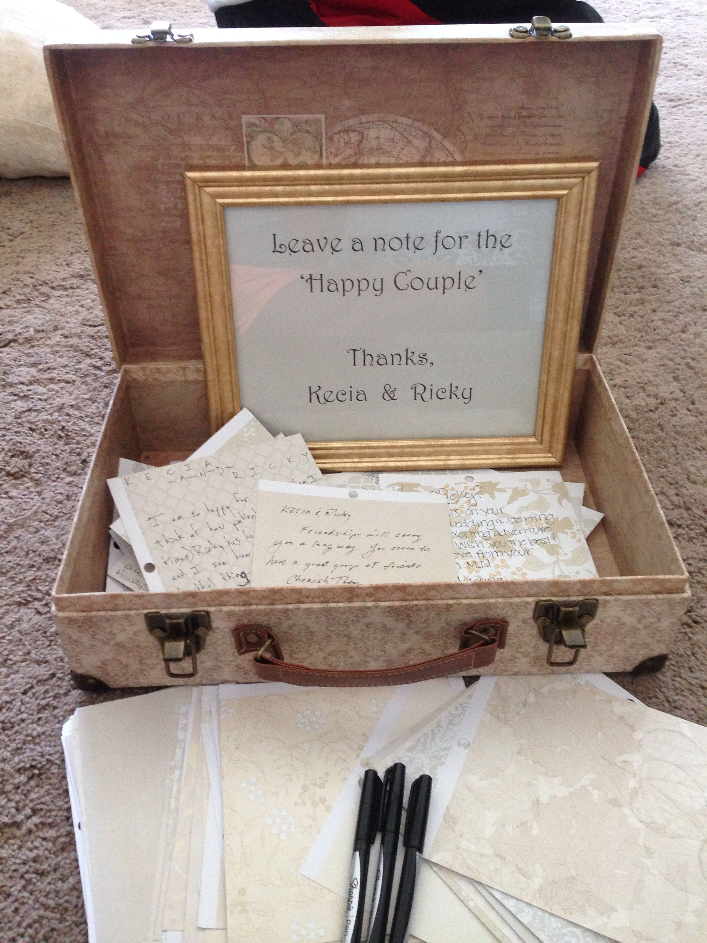How to put scrapbook paper on wood - Wedding Guest Book Idea We Got A Trunk And Some Scrapbook Paper And Had Our