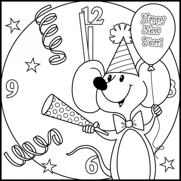 Happy New Year Coloring Picture Free Printable Letscolorit Com