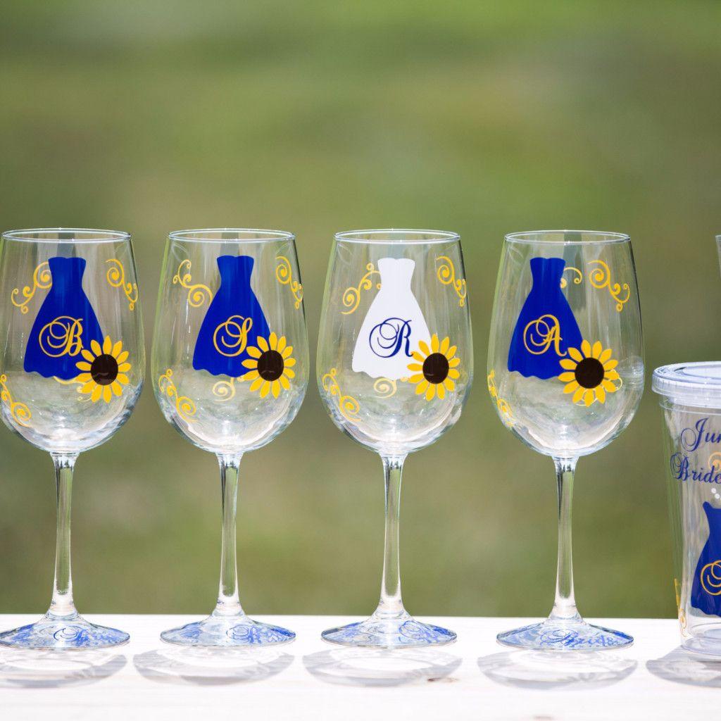 fall wedding sunflower wine glasses or acrylic tumbler