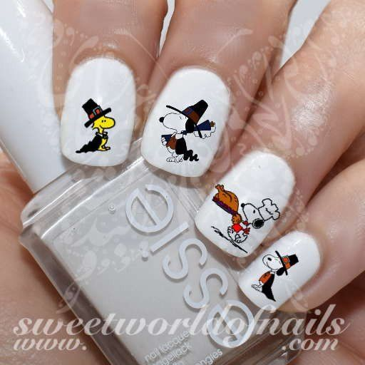 Thanksgiving Nail Art Snoopy Turkey Nail Water Decals Slides 20