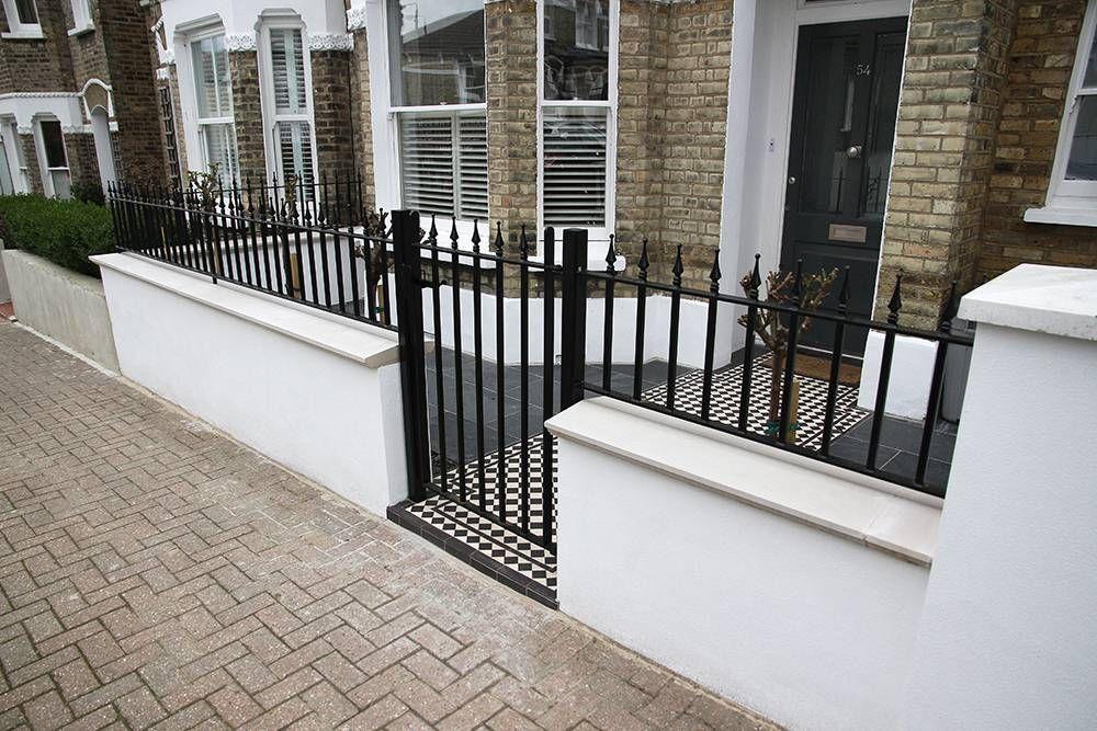 Modern Half Railing Design With Cast Iron Black Gate And