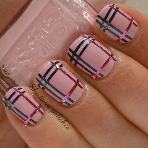 Strips & polish nail art design