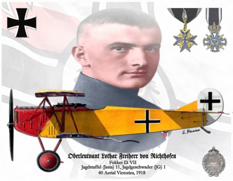 Oberleutnant Lothar Freiherr Von Richthofen Fighter Pilot Air Fighter Luftwaffe