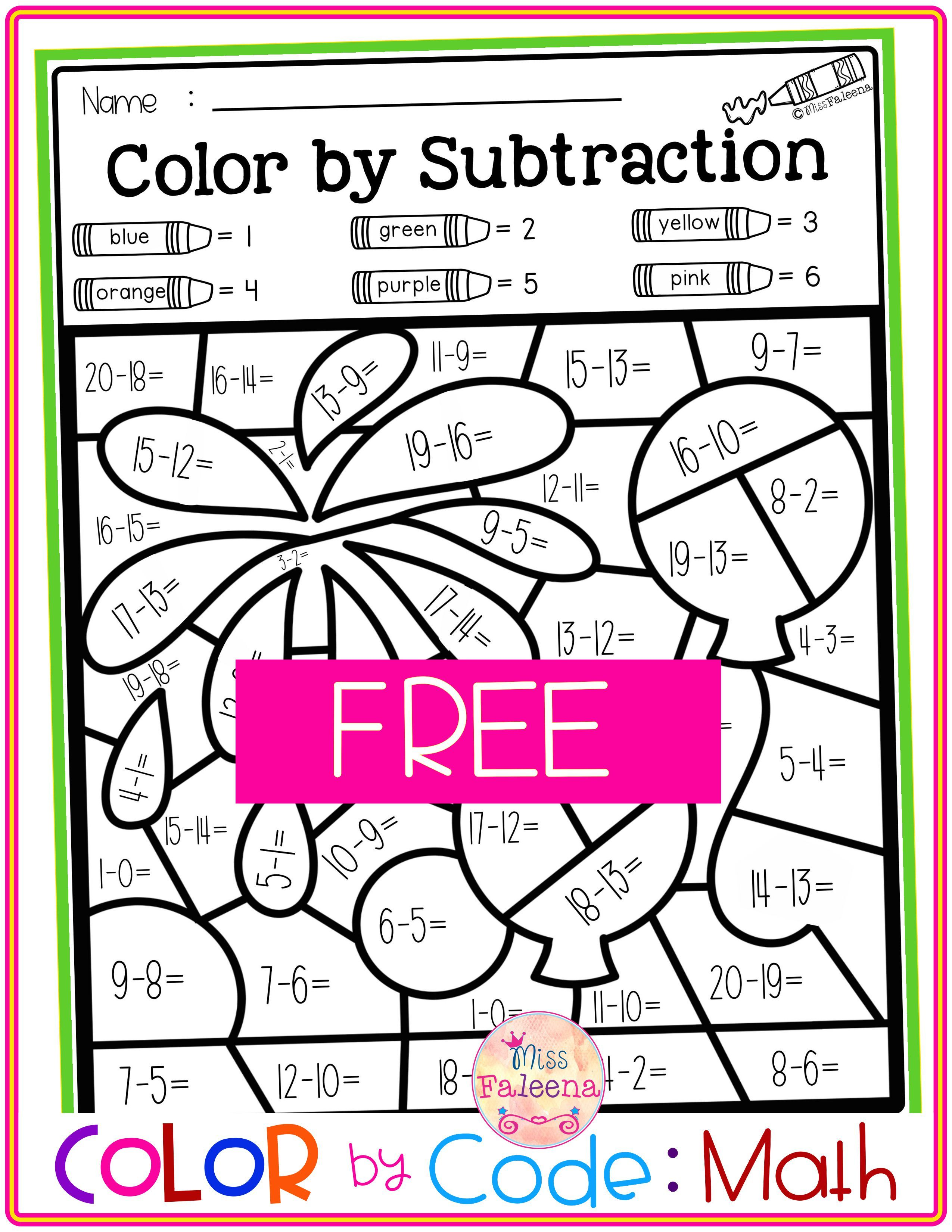 Color By Code Math Math Subtraction Math Coloring Math Coloring Worksheets [ 3300 x 2550 Pixel ]