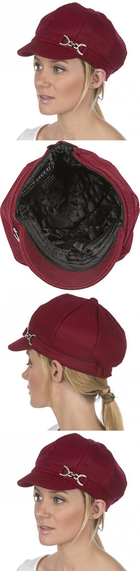 2a56c5b4478bd Sakkas 305BC Jessica Wool Newsboy Cabbie Hat with Rhinestone Buckle -  Burgundy - One Size