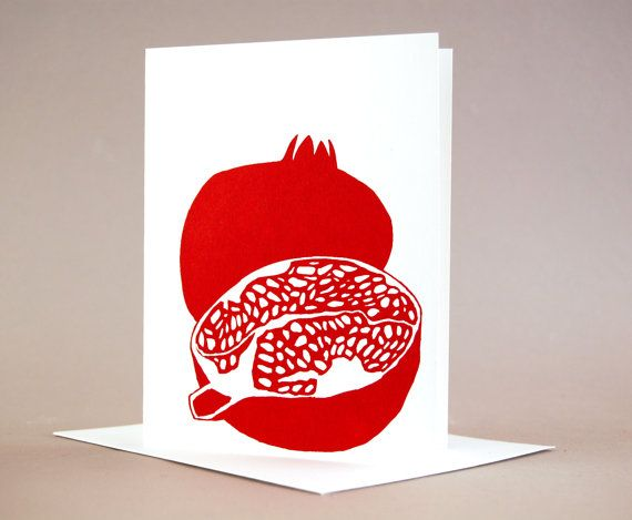Garnet Colored Pomegranate Cards