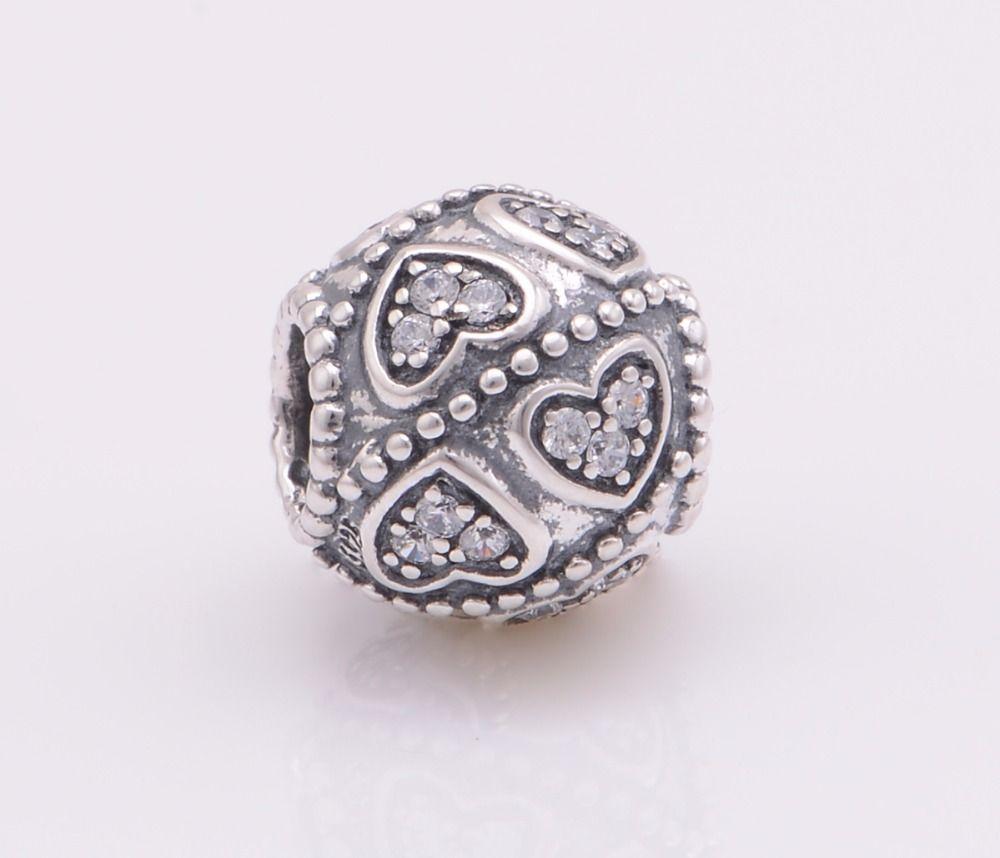 Fits pandora charms bracelets sterling silver cz stone carved heart
