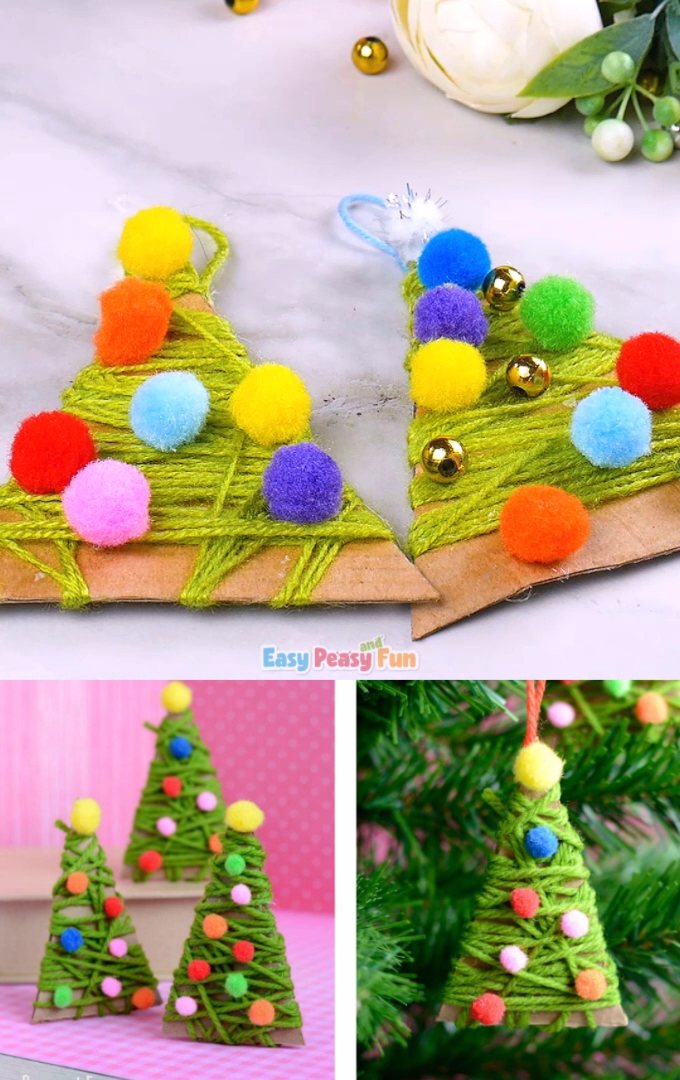 This yarn wrapped Christmas tree ornaments are a great project both as a Christmas craft or as an ornament for your