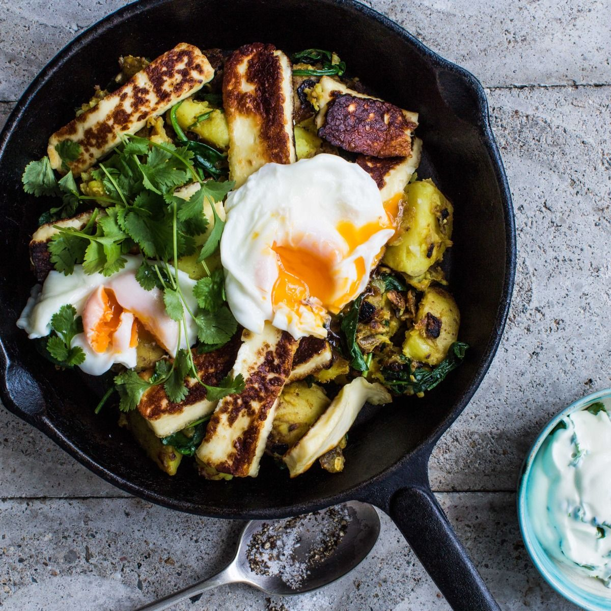 Curry Crushed Potatoes With Haloumi And Poached Egg Recipe