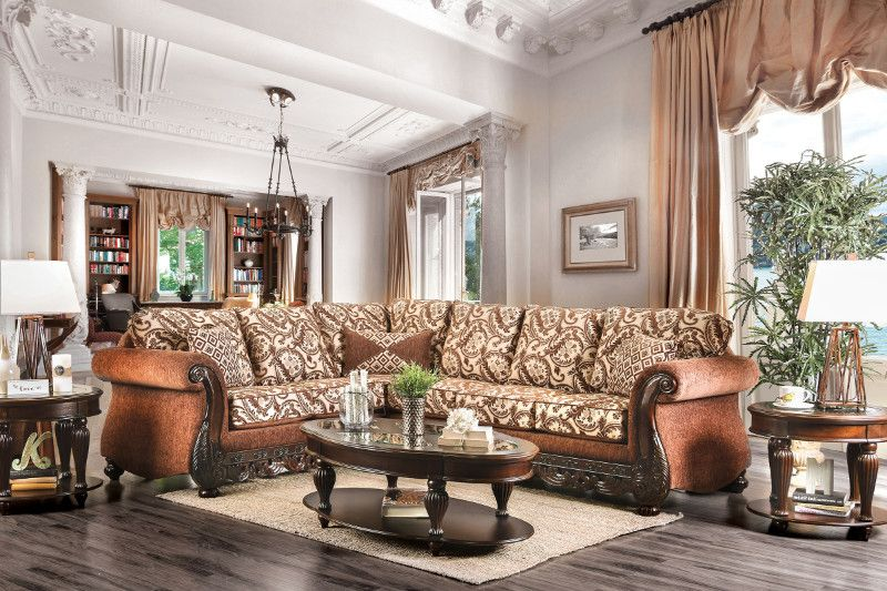 2 Pc Cassandra Collection Brown Floral Patterned Fabric U0026 Intricate Wood  Trim Accents Sectional Sofa Set. This Set Includes The Laf Sofa With Return  And RAF ...