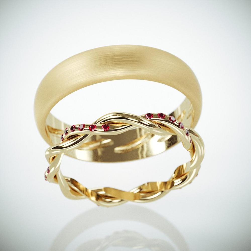 14K Gold Braided Wedding Rings set with Rubies Handmade