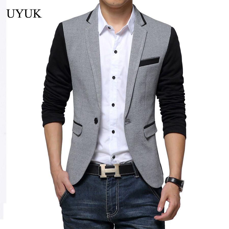 Elegante Para Hombre Informal Slim formales de un botón traje de abrigo chaqueta blazer Top Prendas de abrigo