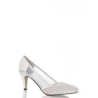 44c83c5a12e Quiz Silver Diamante Low Heel Court Shoes-   Debenhams   Zapatos ...