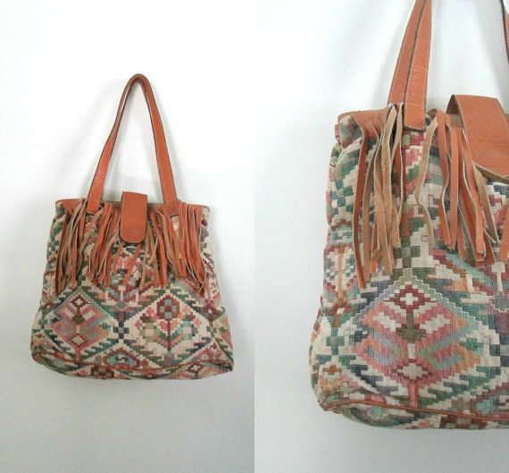 Items Similar To Tapestry Leather Fringed Handbag Boho Chic Vintage Besozzi Franco Made In Italy On Etsy