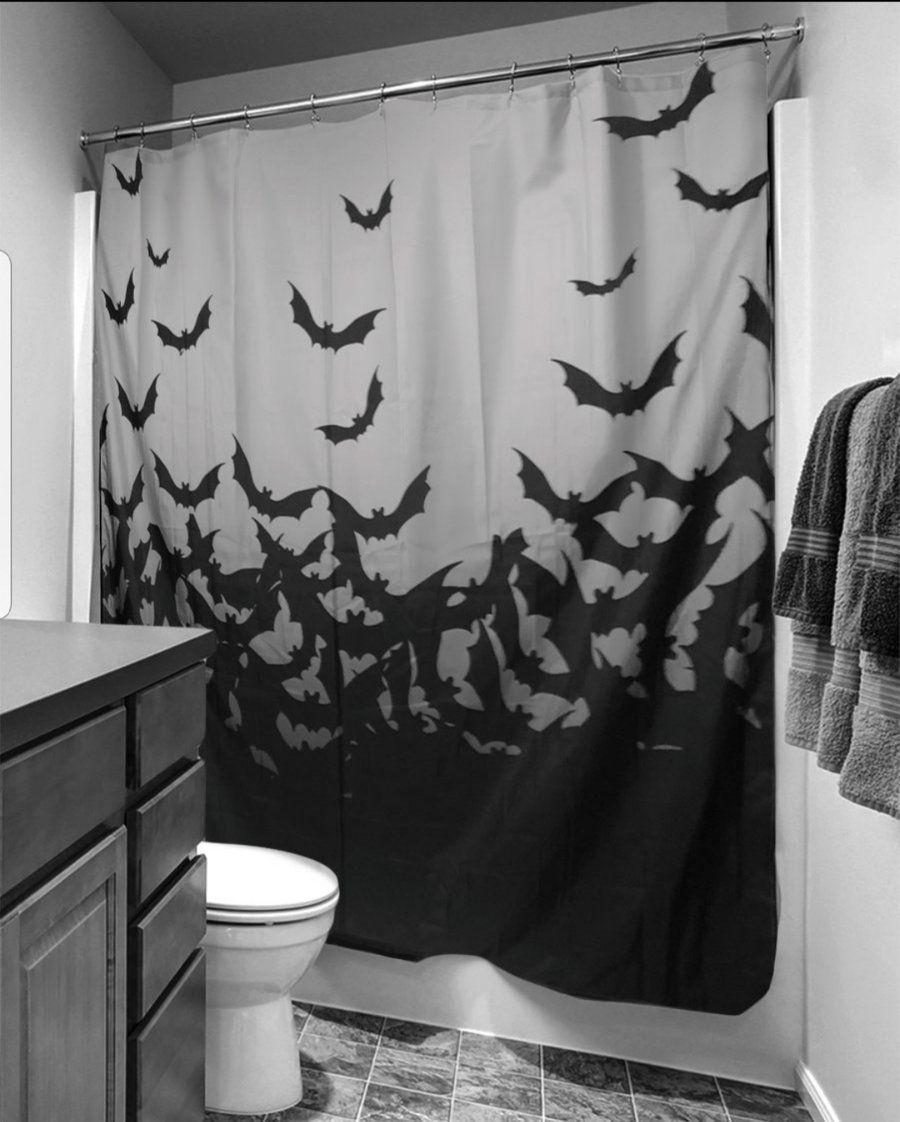 Image Of Bat Shower Curtain Halloween Shower Curtain Fabric