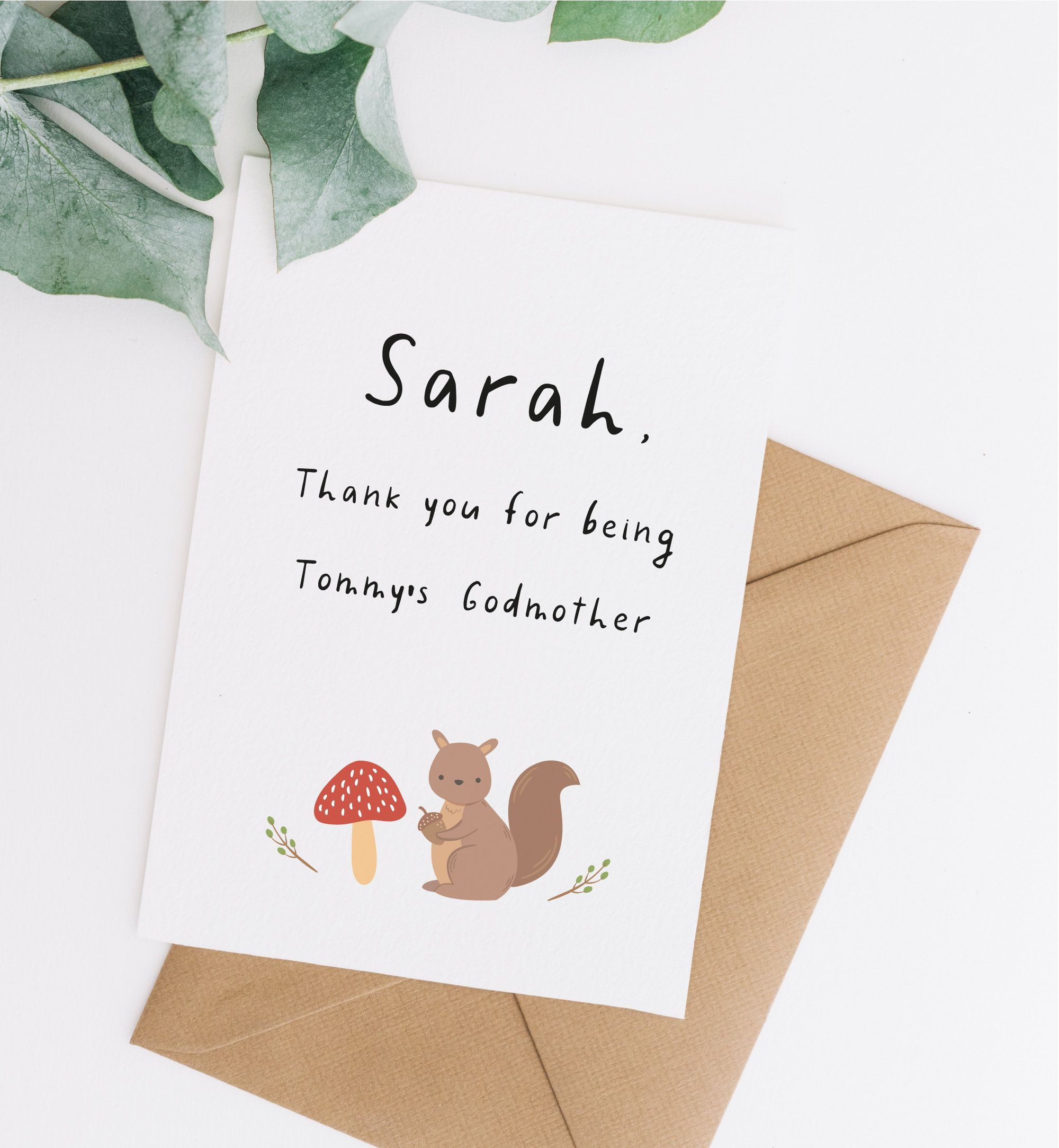 thank you card for godmother thank you godparents card