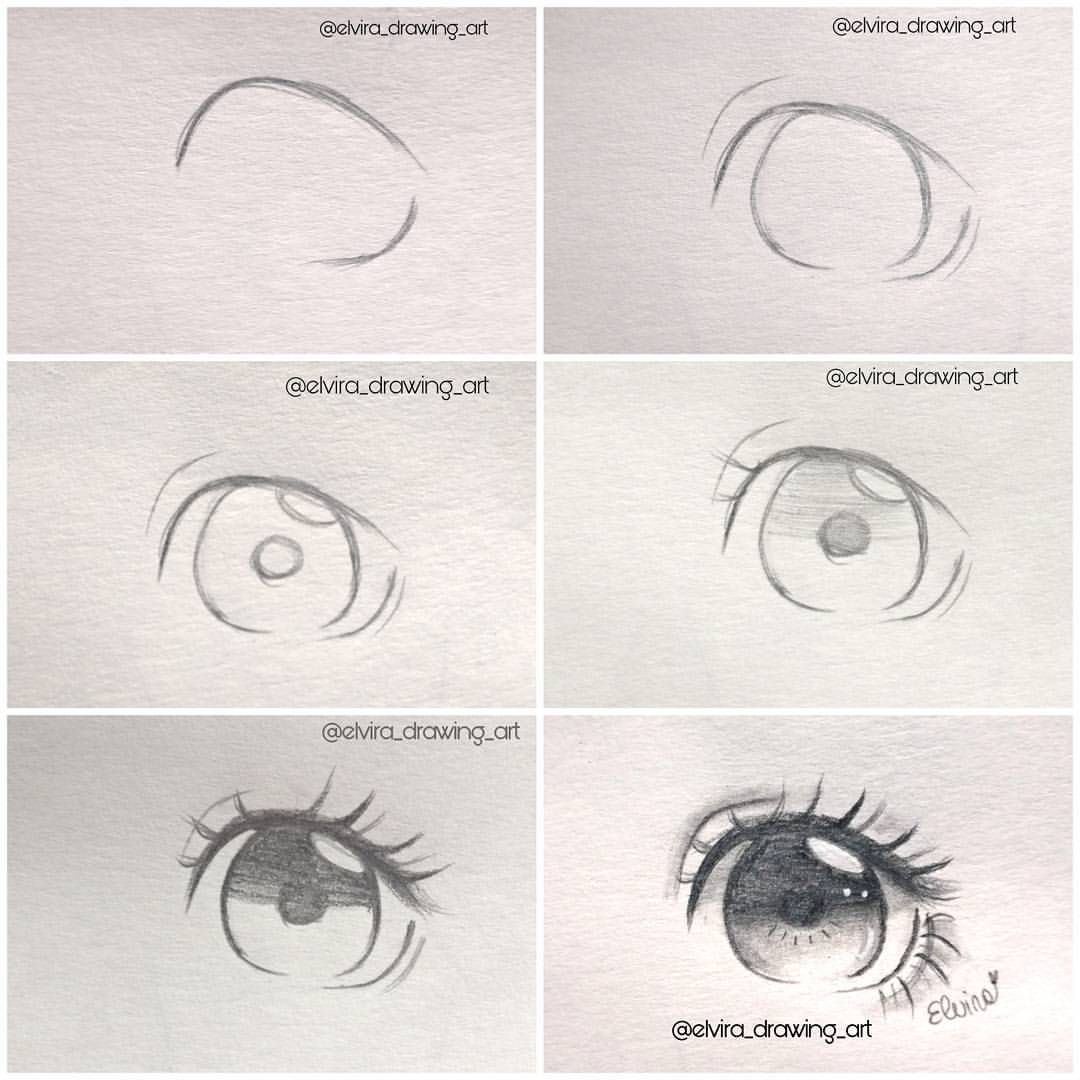 Pencil Eye step by step (With images) Anime drawings