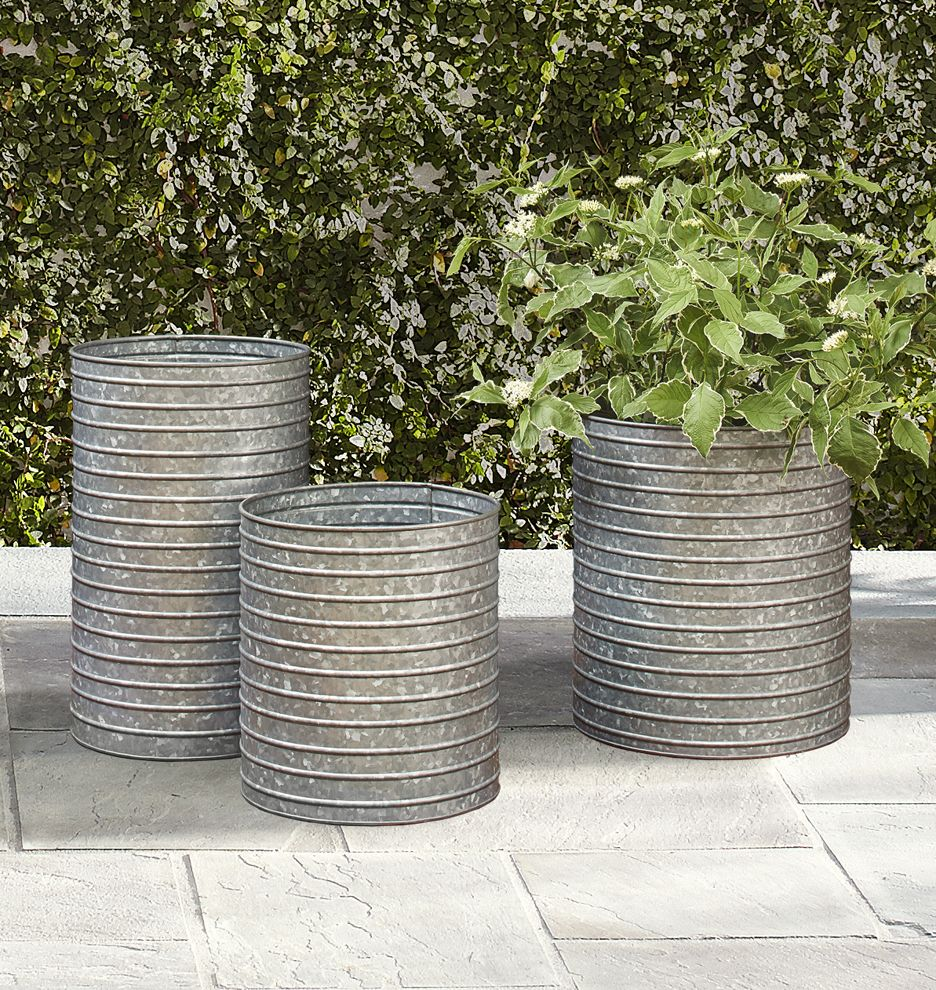 Ribbed Galvanized Metal Planter Metal Planters Galvanized Planters Metal Flower Pots