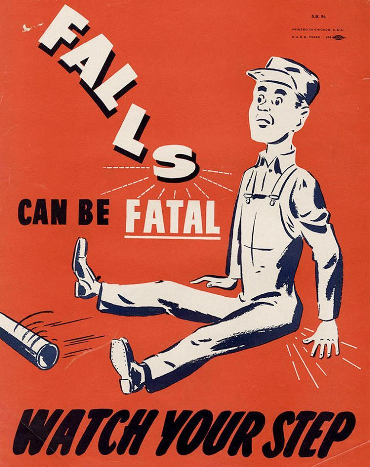 """Falls Can Be Fatal"" Safety posters"