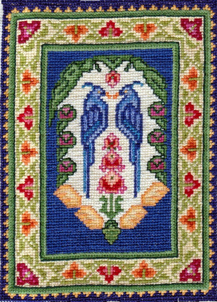 Peacocks in rose tree petit point by maya heath alfombras