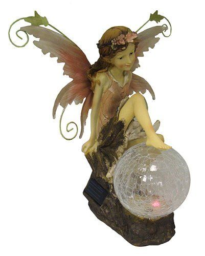 """12"""" LED Lighted Color-Changing Solar Powered Outdoor Fairy Garden Figure by CC Outdoor Living. $24.99. LED Solar Powered Outdoor Fairy Garden FigureItem #CA70040Product Features:Lights up with one LED light that is inside the clear crackle globeLight automatically changes from red to blue to greenOn/off switch on the bottom of the figureLights automatically turn on at dusk and off at dawnMust be placed in an area that receives full sun for at least 8 hours a day to work prope..."""