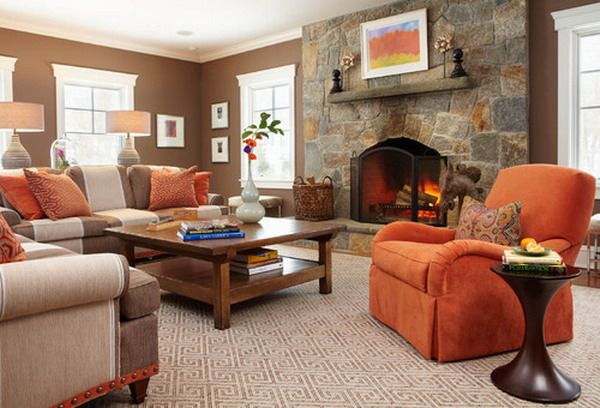 Bildergebnis für wohnzimmer orange beige braun | Wohnung | Pinterest ...