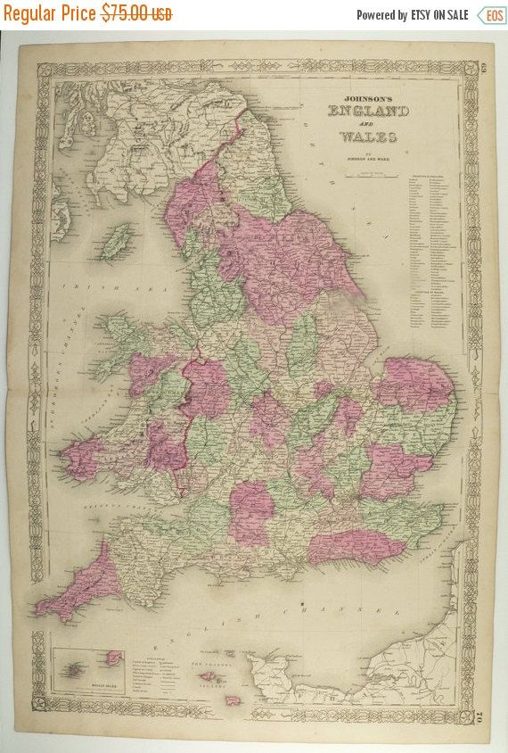 Antique map england united kingdom map great britain 1863 johnson antique map england united kingdom map great britain 1863 johnson england map old world map gumiabroncs