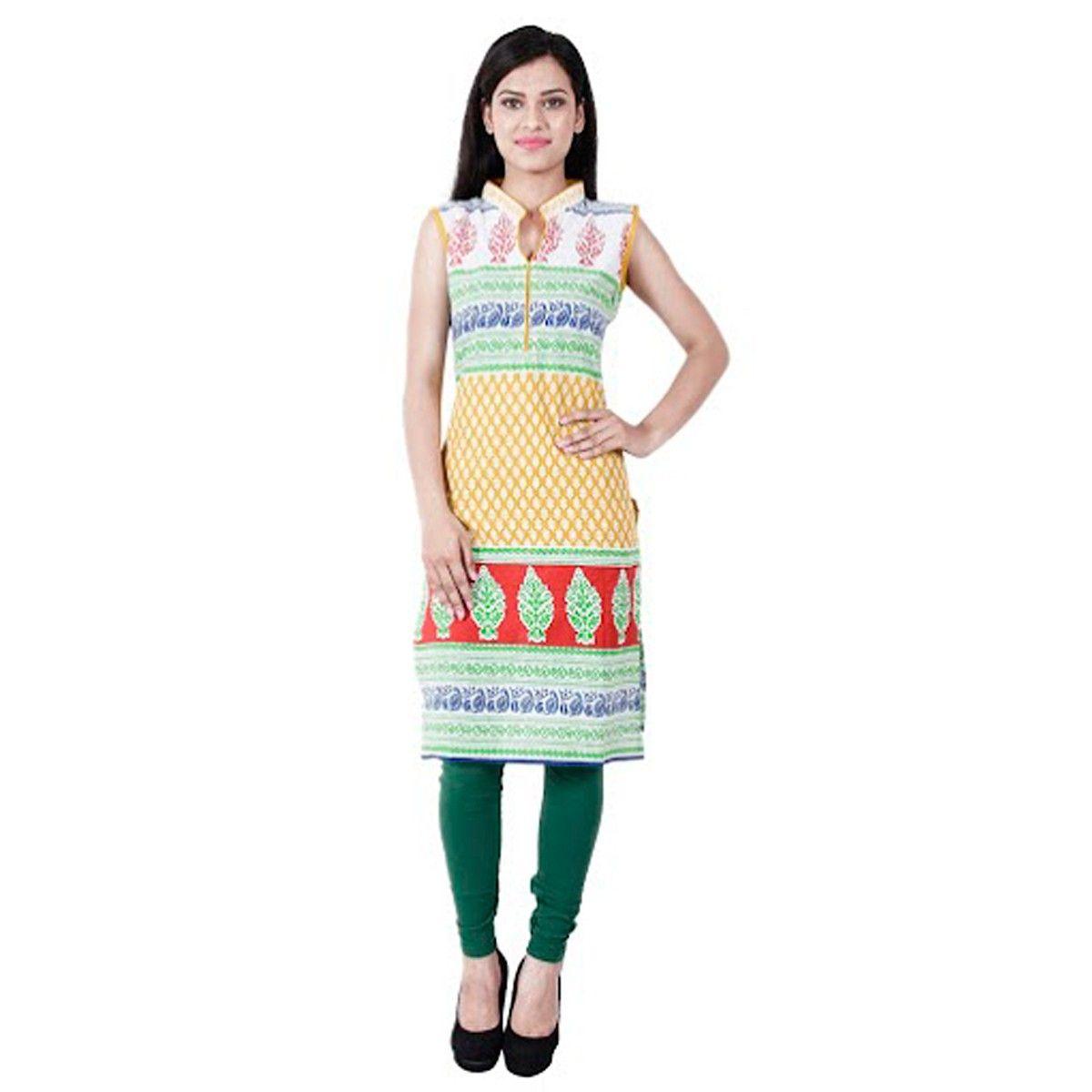 Cotton Multicolour Printed Stitched Straight Kurti - 6033YLW
