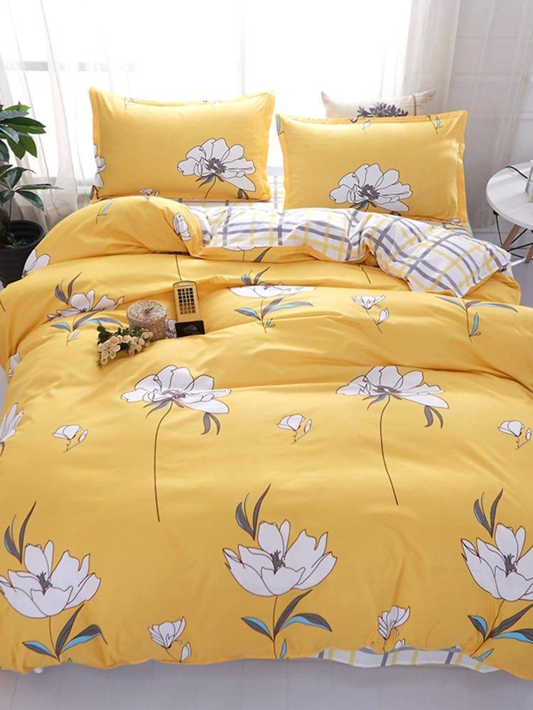 Flower Gingham Print Sheet Set Shein Yellow Bedding Bed Linen Design Bed Linens Luxury