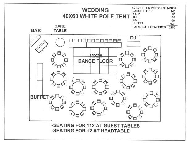 Just for a seating plan layout visual wedding 40x60 white for Wedding floor plan