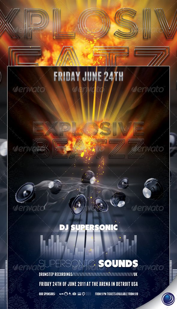 Music Speakers Explosion Flyer Template  Flyer Template Template