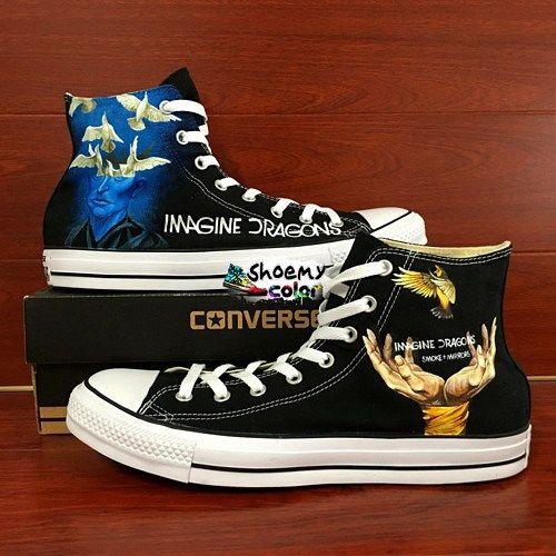 Men Women Imagine Dragon Converse Hand Painted Canvas Sneakers ... f5c89f7d1e