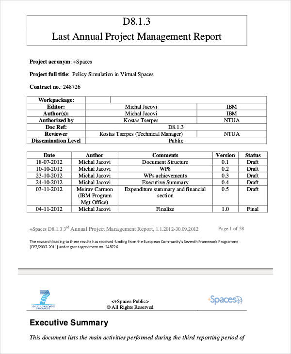 Project Management Final Report Template 7 Templates Example Templates Example Report Template Project Management Templates Project Management