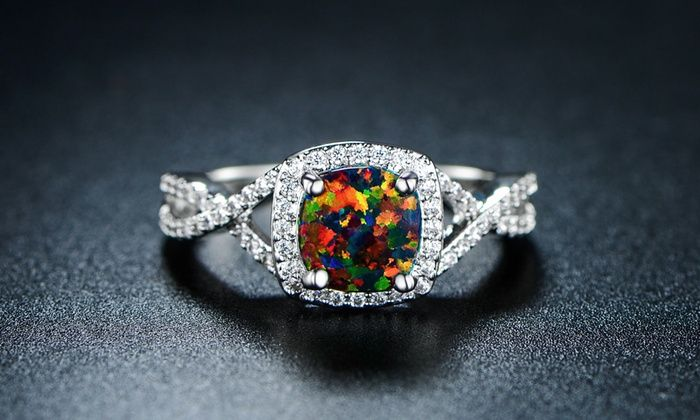 Nice 4.00 CTW Black Opal Engagement Ring: 4.00 CTW Black Opal Engagement Ring  This Is Gorgeous