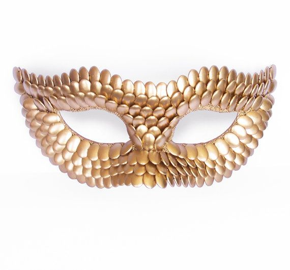 Made To Order - Gold Masquerade Mask With Fish Scales Texture -  Metallic Venetian Mask Decorated With Gold Flake Beads
