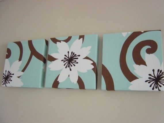 Teal And Brown Wall Art handmade set of 3 contemporary flower duck egg blue chocolate
