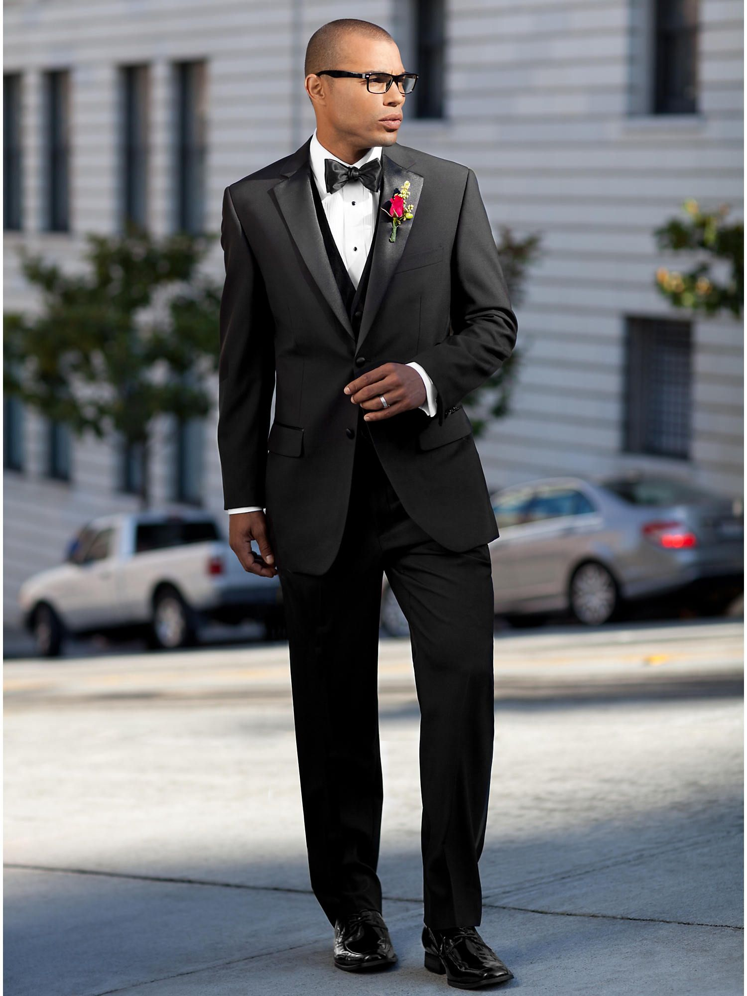 Wedding Party Black Vested Suit Men's Wearhouse (With