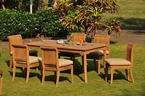 Gradea Teak Wood Dining Set 8 Seater 9 Pc 71 Rectangle Table And 6
