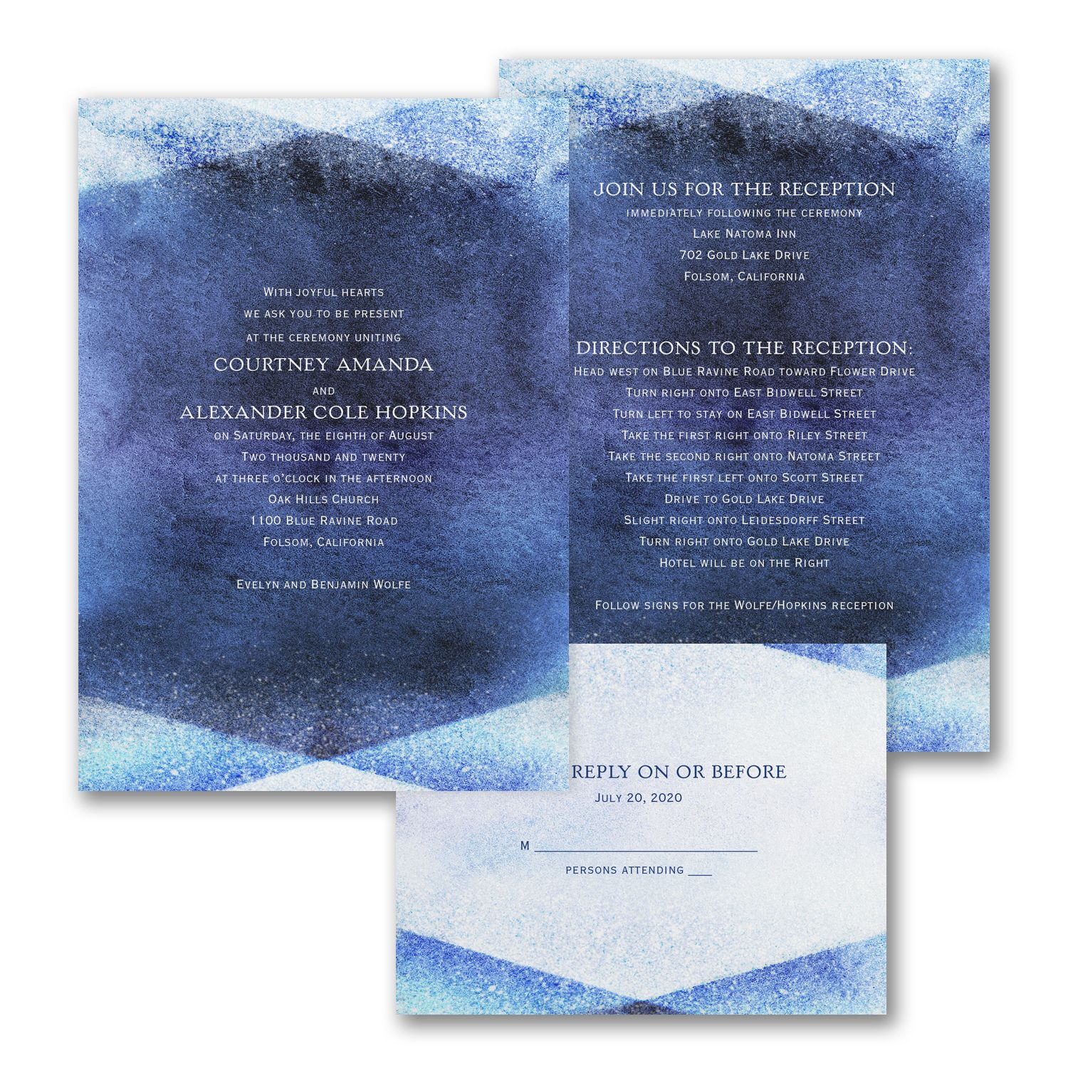watercolor gem valstyle invitation navy white 30 40 off