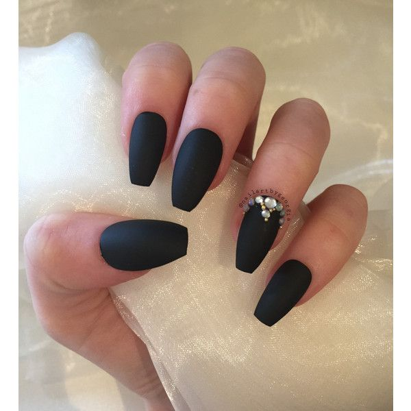 Matte Black Coffin Nails With Rhinestones And Gold Beads 13 Liked On Polyvore Featuring Beauty Products Na Rhinestone Nails Coffin Shape Nails Gold Nails
