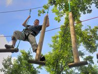 Fun and challenging ropes course elements with posts