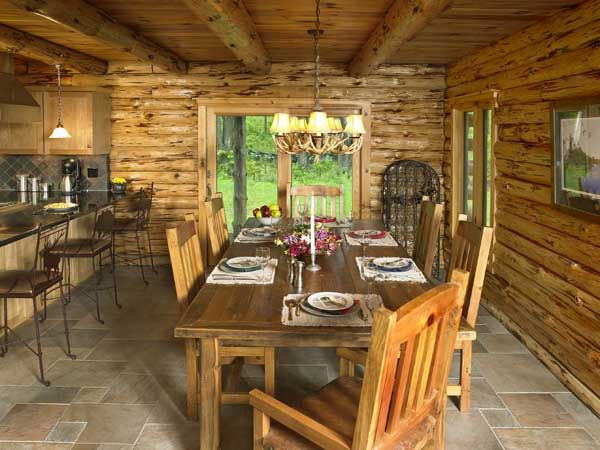 log home kitchen tile | The dining area, like the rest of the ...