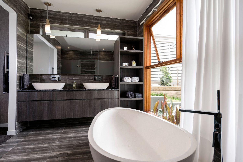 Ultra modern bathroom vanity in polytec doors in char oak ravine i